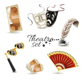 Conjunto de pictogramas planos de atributos de teatro