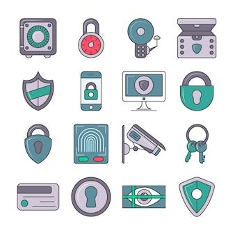 Conjunto de pictogramas de protección y seguridad.