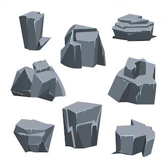 Conjunto de piedra de roca gris. ilustración, aislado en blanco.