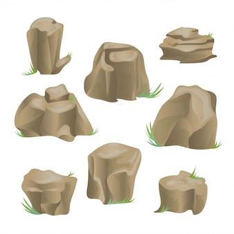 Conjunto de piedra de roca. ilustración, en blanco.