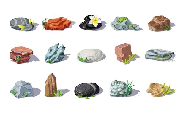 Conjunto de piedras de colores de dibujos animados de diferentes formas y materiales con plantas y hojas aisladas