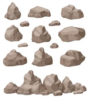 Conjunto de piedras de dibujos animados