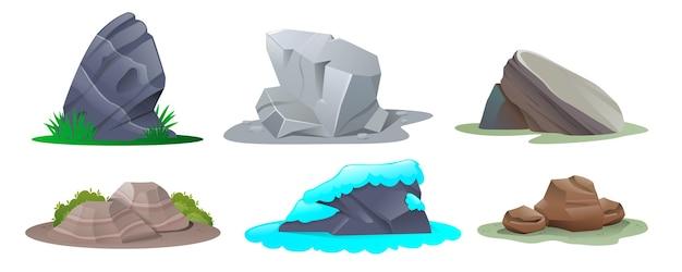 Conjunto de piedras en estilo de dibujos animados. piedras de diferentes formas y tamaños.
