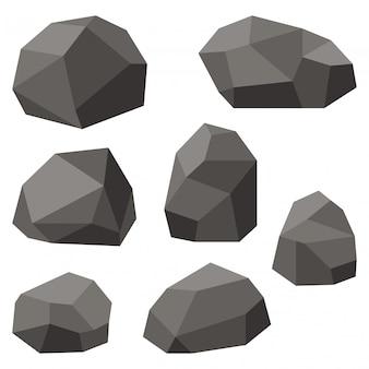 Conjunto de piedras grises. ilustración