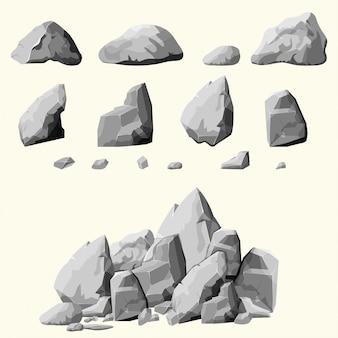 Conjunto de piedras grises