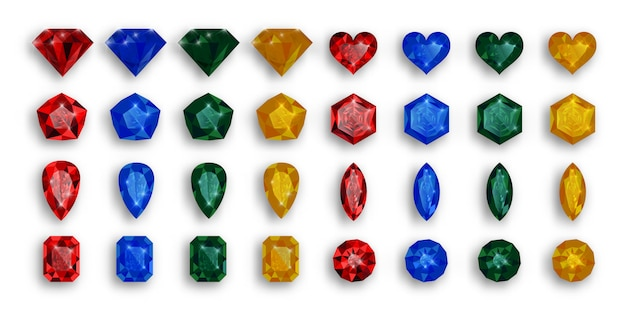 Conjunto de piedras preciosas de colores. rubíes, zafiros y esmeraldas.