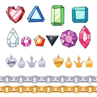 Conjunto de piedras preciosas, elementos decorativos y cadenas.