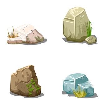 Conjunto de piedras de vector de dibujos animados
