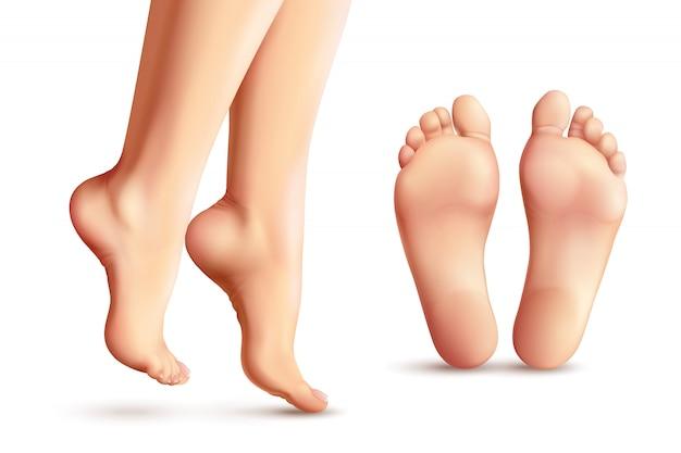 Conjunto de pies femeninos realistas