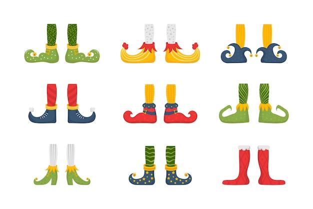 Conjunto de pies y piernas de elfo navideño, decoración para celebración. colección de lindas piernas de elfos, botas, calcetines. santa ayudantes zapatos y pantalones con regalos, regalos. paquete de gnomos navideños.
