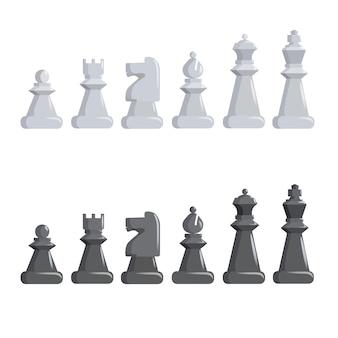 Conjunto de piezas de ajedrez en blanco y negro.