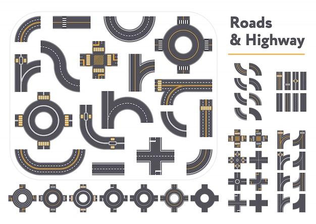 Conjunto de piezas de carreteras y autopistas gráficas