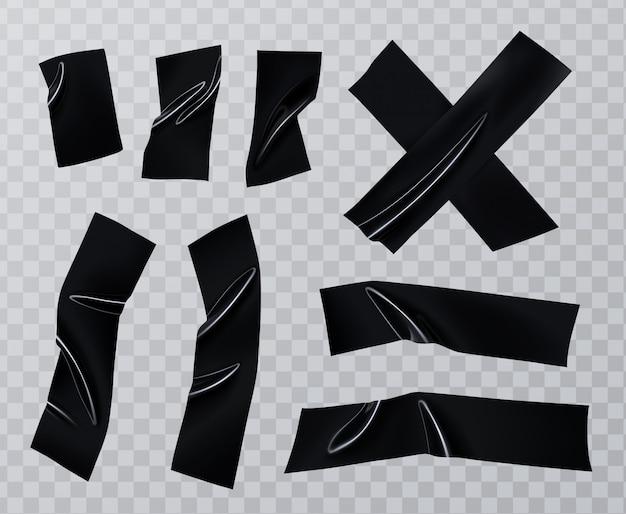 Conjunto de piezas de cinta adhesiva para conductos. colección realista de cinta aislante negra, elementos adhesivos escoceses.