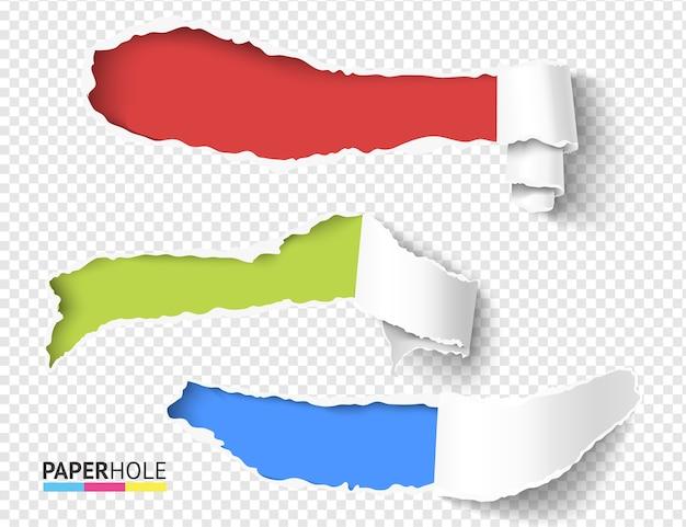 Conjunto de piezas de desplazamiento rizado de papel rasgado realista en blanco vectorial con bordes de agujero rasgados