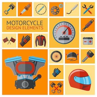 Conjunto de piezas y elementos de motos.