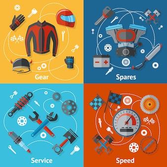 Conjunto de piezas de elementos de motos.