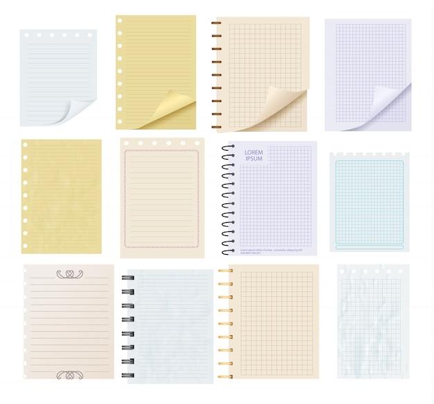 Conjunto de piezas de papel de nota en blanco colorido