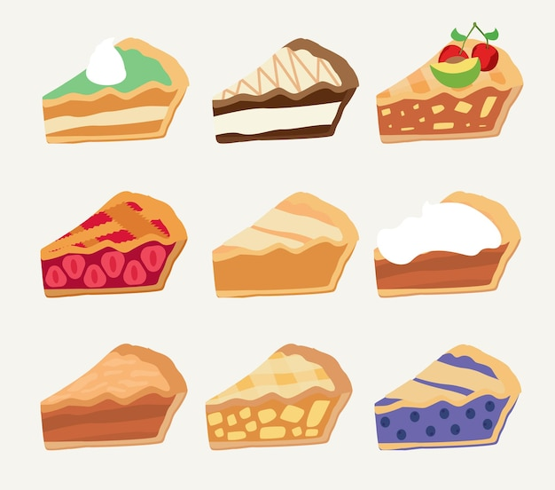 Conjunto de piezas de rebanadas de pasteles o tartas dulces coloridos