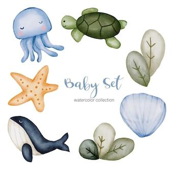 Conjunto de piezas separadas y unir para ropa hermosa, artículos para bebés y juguetes en estilo de colores de agua, ilustración de acuarela