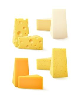 Conjunto de piezas triangulares de diversos tipos de queso cheddar suizo bri camembert cerrar aislado sobre fondo blanco.