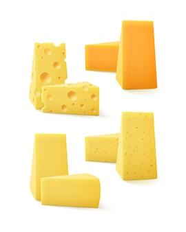 Conjunto de piezas triangulares de queso cheddar suizo cerca aislado sobre fondo blanco.