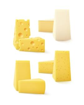 Conjunto de piezas triangulares de varios tipos de queso swiss bri camembert cerrar aislado sobre fondo blanco.