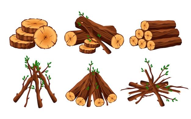 Conjunto de pila de leña, maleza, cabaña de leña, pilas de troncos de madera y ramas aisladas sobre fondo blanco. pila de madera para elementos de diseño de hoguera - ilustración plana