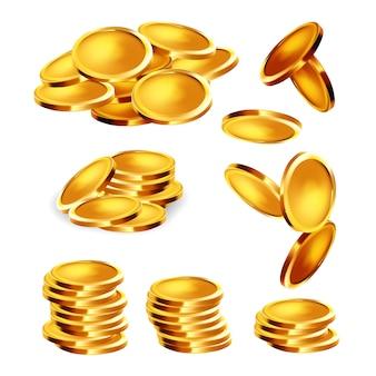 Conjunto de pila de oro, montón y caída