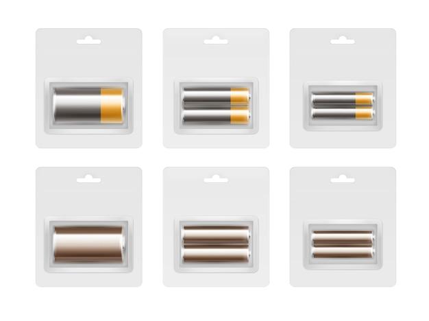 Conjunto de pilas alcalinas aa, aaa, c de color marrón dorado brillante negro en blíster transparente embalado cerca aislado