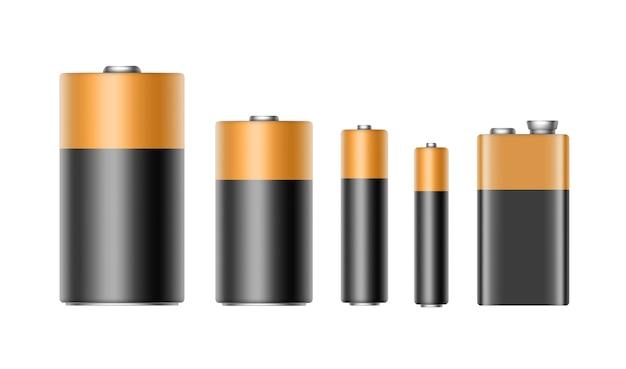 Conjunto de pilas alcalinas negras amarillas doradas brillantes de tamaño diferente aaa, aa, c, d, pp3 y batería de 9 voltios para la marca de cerca aislado sobre fondo blanco.