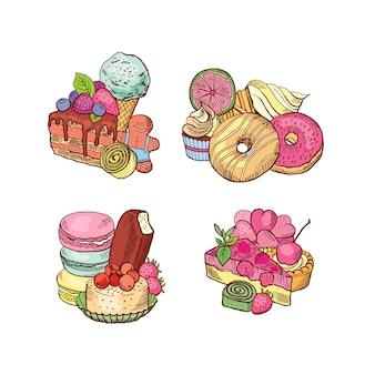 Conjunto de pilas de dulces dibujados a mano.