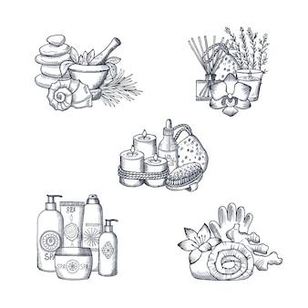 Conjunto de pilas de elementos de spa dibujados a mano