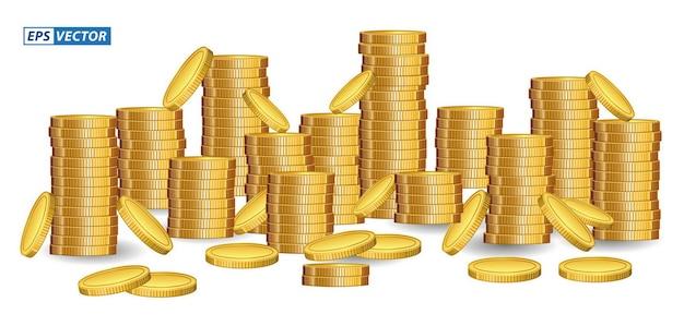 Conjunto de pilas de monedas de dólar en estilo plano o moneda de dólar en diferentes estilos o concepto de moneda financiera