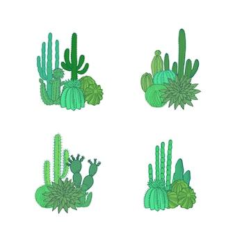 Conjunto de pilas de plantas de cactus del desierto dibujado a mano aislado sobre fondo blanco