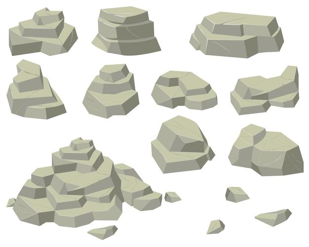 Conjunto de pilas de rocas planas. montones de piedras naturales de diferentes tamaños, pirámides rocosas y escalones aislados sobre fondo blanco.