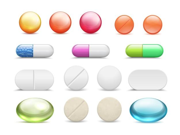Conjunto de píldoras realistas. tabletas de medicamentos redondos de vitaminas y medicamentos en cápsula, farmacia de atención médica diferente.