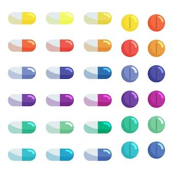 Conjunto de píldoras y tabletas de cápsulas. antibióticos, vitaminas y analgésicos.