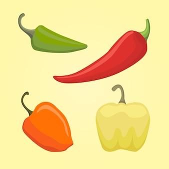 Conjunto de pimienta, ilustración vectorial
