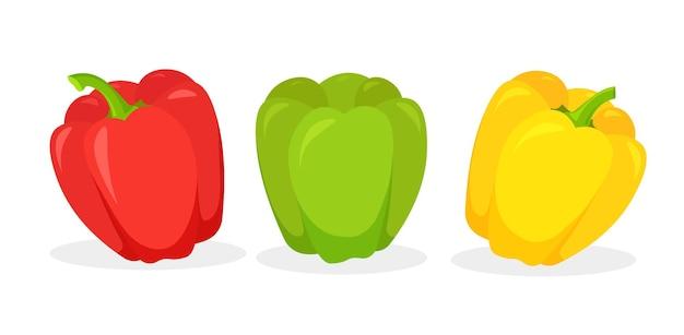 Conjunto de pimiento rojo, verde y amarillo fresco aislado