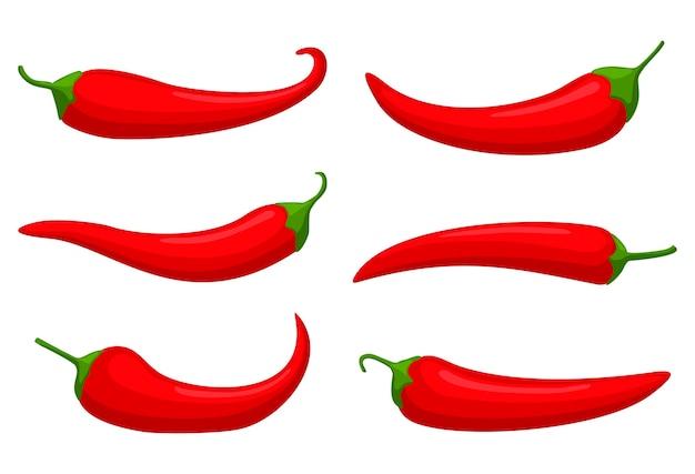 Conjunto de pimientos rojos calientes, chile mexicano de dibujos animados, pimentón.