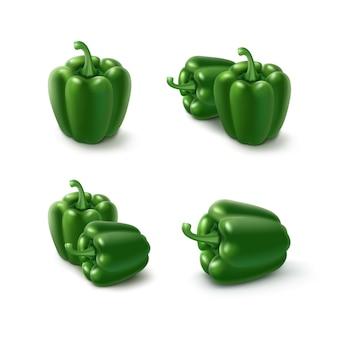 Conjunto de pimientos verdes dulces búlgaros, pimentón