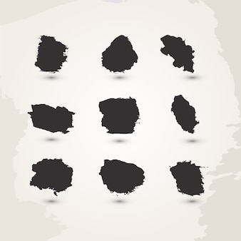 Conjunto de pinceladas de acuarela hechas a mano negro