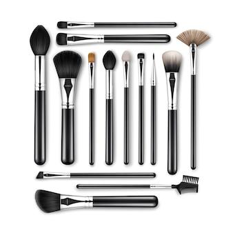 Conjunto de pinceles de cejas de sombra de ojos en polvo corrector de maquillaje profesional negro limpio con asas negras aisladas
