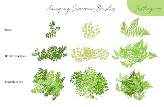 Conjunto de pinceles tropicales de ecología de follaje de verano vector - siluetas de hojas de verano, follaje de árboles, diferentes tipos de vegetación aislados en blanco