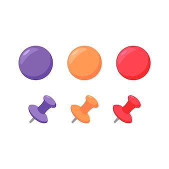 Conjunto de pines e imanes de empuje - ilustración vectorial plana de coloridos suministros de oficina de negocios y educación