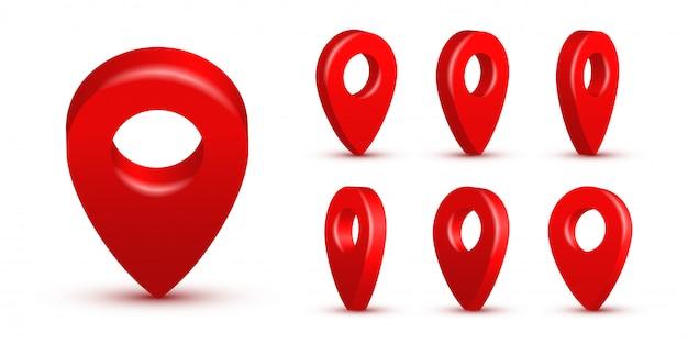 Conjunto de pines de mapa realista rojo brillante, punteros 3d aislados. símbolos de ubicación en varios ángulos