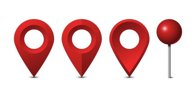 Conjunto de pines de mapa rojo aislado sobre fondo blanco.