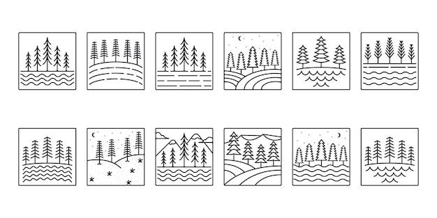 Conjunto de pinos vector icono de línea de árbol colección de diseño de ilustración de logotipo de estilo de arte de línea de árbol de pino