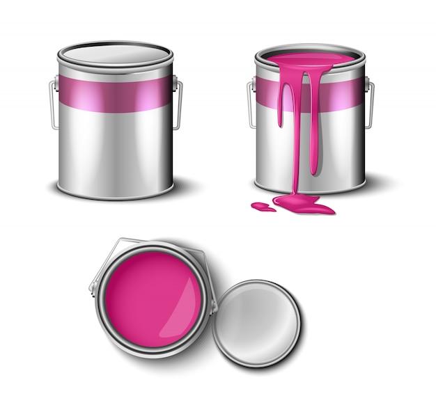 Conjunto de pintura puede color rosa vista superior y lateral.