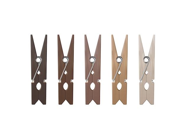 Conjunto de pinzas para la ropa de madera clavijas de diferentes colores vista frontal cerrar aislado sobre fondo blanco